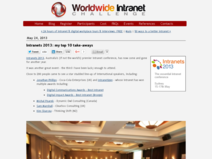 Worldwide Intranet Challenge (WIC): Intranets 2013: my top 10 take-aways