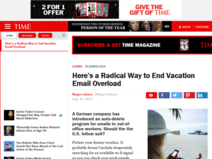 Here's a Radical Way to End Vacation Email Overload | TIME - No e-mail policy maar dan anders
