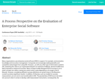 A Process Perspective on the Evaluation of Enterprise Social Software